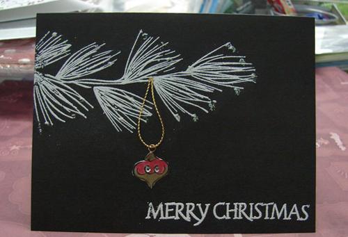 Postales navidenas artesanales rama de pino