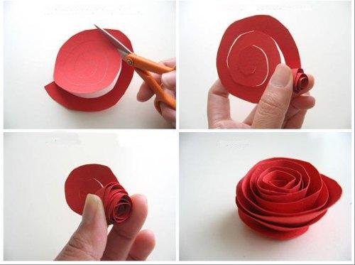 rosas hechas con hojas de papel
