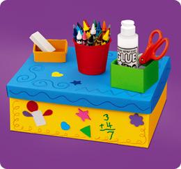 Manualidades organizador de material escolar la eduteca - Decorar una caja de zapatos para ninos ...